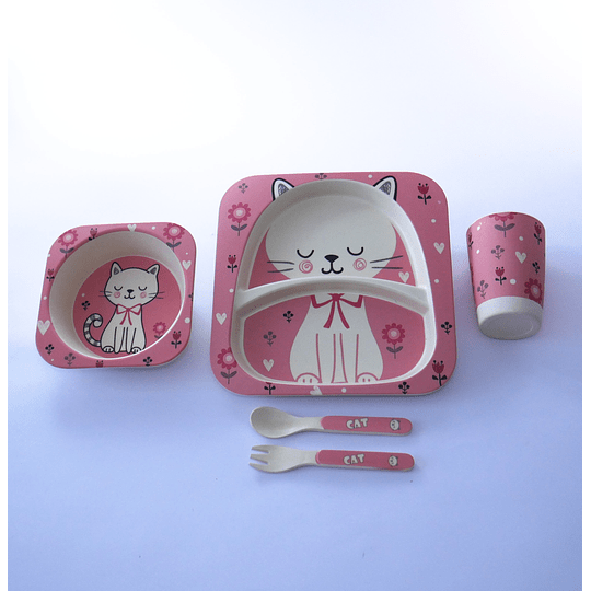 Set de comida bebés 5 piezas gatita rosada