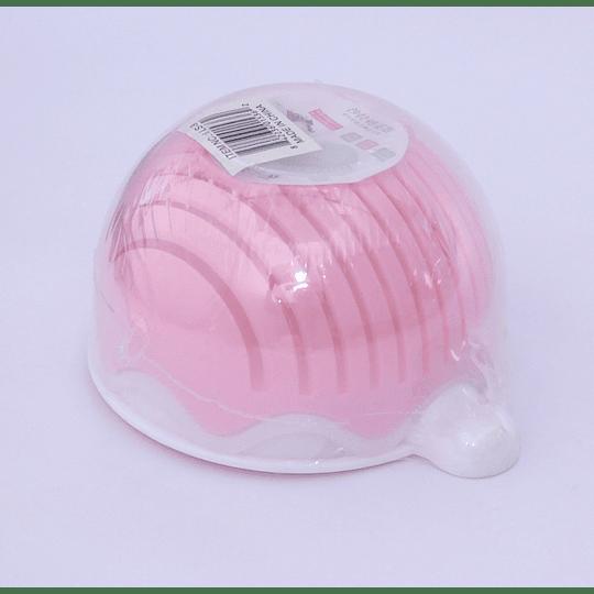 Bowl colador y picador ranuras 3 rosado