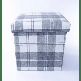Pouf baúl Escocés Gris-blanco