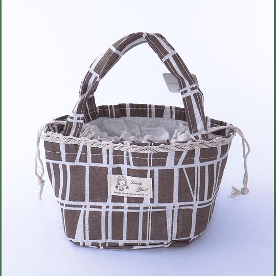 Bolsa Térmica Algodón cordón café - cebra