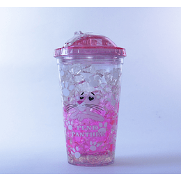 Vaso Bombilla  450ml Hello Ice Pink P3