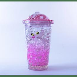 Vaso Bombilla  450ml Hello Ice Pink P1