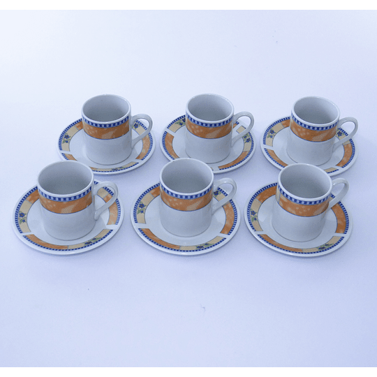 Set 6 Tazas de Café 12pcs - amarillo rib