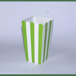 Set 6 Cajas Cabritas 8x8x16 rallas verde-blanco