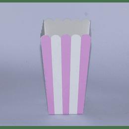 Set 6 Cajas Cabritas 8x8x16 rallas rosado-blanco