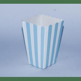 Set 6 Mini Cajas Cabritas 6,5x6,5x12 Rallas celeste-blanco