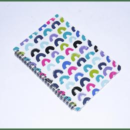 cuaderno 77 hojas Espiral 14,5x21 semicírculos