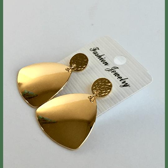 Aros Bisutería Metal Triangulo Dorado