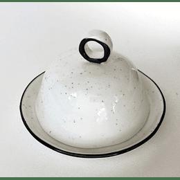 Mantequillera Redonda Cerámica Blanca/Negro casaideas