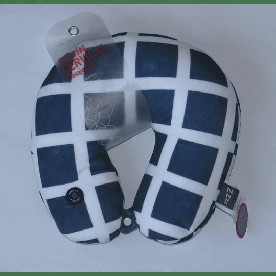 Cojín cervical Masajeador Azul/cuadros