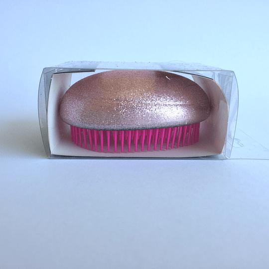 Cepillo de Pelo Ovalado 6,5x8cm Rosa Escarcha