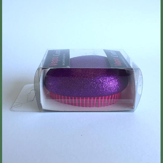 Cepillo de Pelo Ovalado 6,5x8cm Fucsia Escarcha