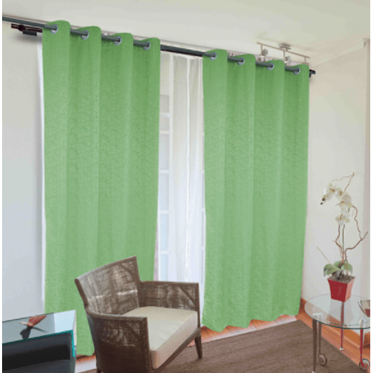 Combo cortinas y velo Camila Doral verde