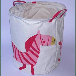 Canasto Ropa Sucia 38x45 Cebra Rosa