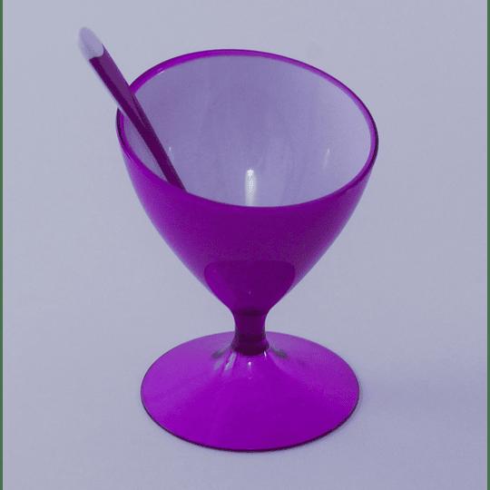 Copa de Postre Helado y Cuchara - Morado