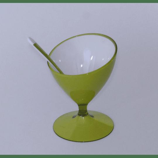 Copa de Postre Helado y Cuchara - Verde