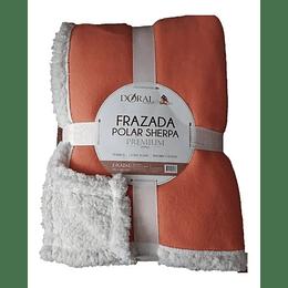 Frazada polar Sherpa 2 plazas  doral naranjo