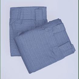 Set 2 Cortinas Textura Barra Azul Piedra