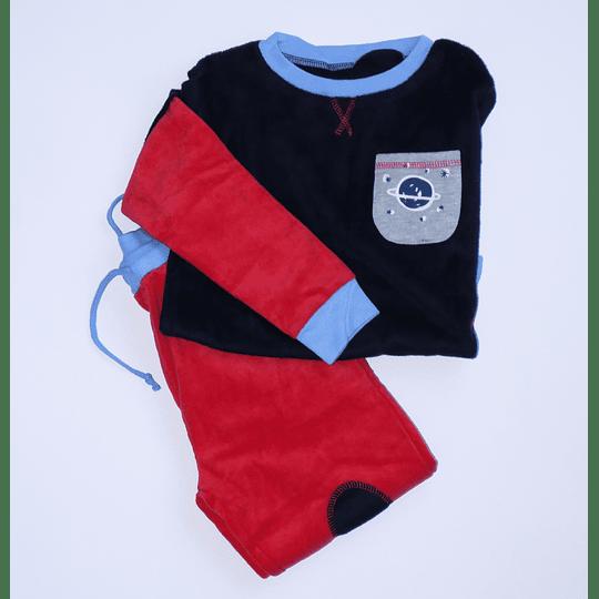 Pijama Polar Talla 4 rojo/azul