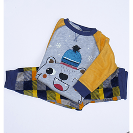 Pijama Polar Talla 4 amarillo/azul