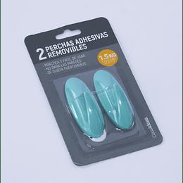 2 Perchas Adhesivas Removibles  Turquesa