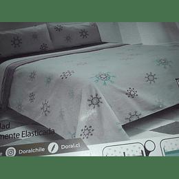 Sábanas de Polar Composé 2  Plazas / copo de nieve lila Doral