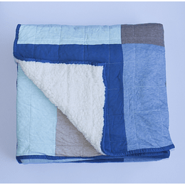 Cobertor Jersey Patchwork Corderito 1,5plazas