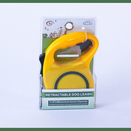 Correa para Mascota Retráctil Amarillo Sólido