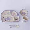 Set Plato Comida Bambú Bebé - Infantil 5 piezas Hipopótamo Lila