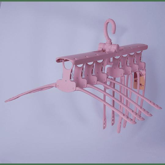 Colgador de Ropa Plegable 8 Perchas Rosado