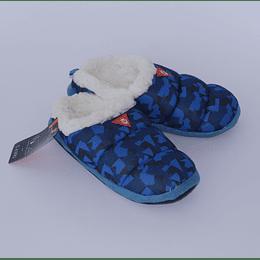 Pantuflas Nº42  Jersey Corderito Azul Print