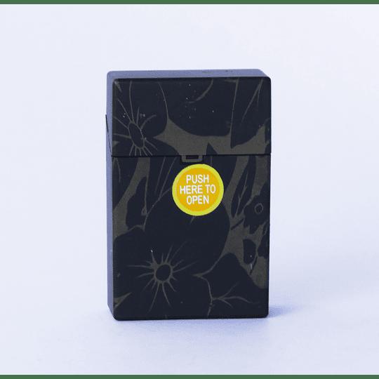 Cigarrera Plástico Flores - Negro