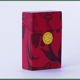 Cigarrera Plástico Flores - Rojo