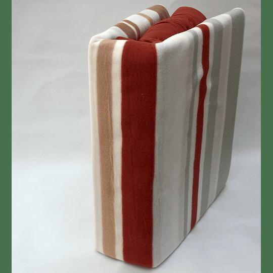 Sábanas de Polar Composé 2 Plazas-Queen /franjas terracota,café y gris