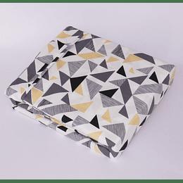 Sabana Microfibra Estampada Geometrico Gris Chantilly  2 plazas