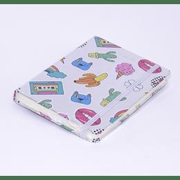 Libreta Tapa Dura Elástico Diseño Plata - 10,5x14,5cm
