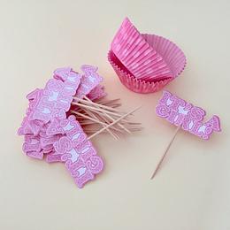 24 Capsulas CupCake 24 Palitos Stick It´s a Girl baby shower