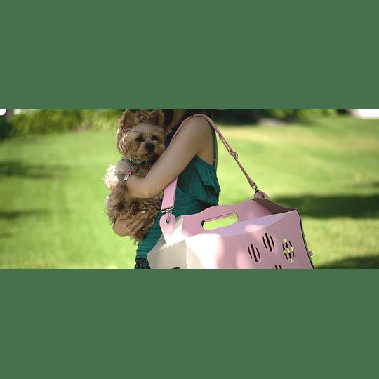 Transportador Mascota Eco Patitas Rosa/gris Small DPETC025-PK