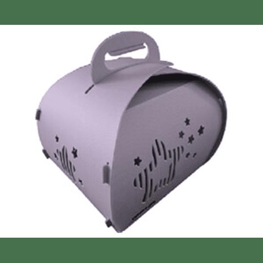 Transportador Mascota Eco L Corazón Celeste DPETC035-BL