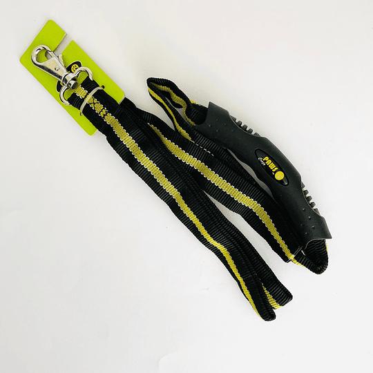Correa Deluxe con Mango de Goma Crazy Paws DPETL001-BY Negro/amarillo