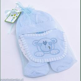 Set Regalo bebé 0-12 meses algodón celeste