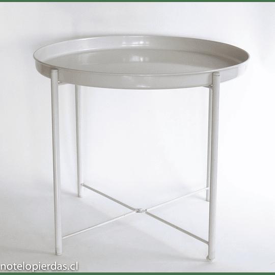 Mesa metal redonda plegable crema