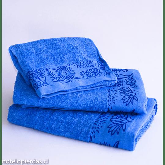 Juego de Toallas / Borde Jacquard Milano 3 piezas Azul