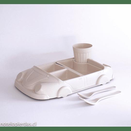 Plato Auto Natural bamboo fiber 6piezas natural