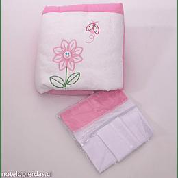 Set plumón cuna apego - plumón y sábanas blanco/rosado