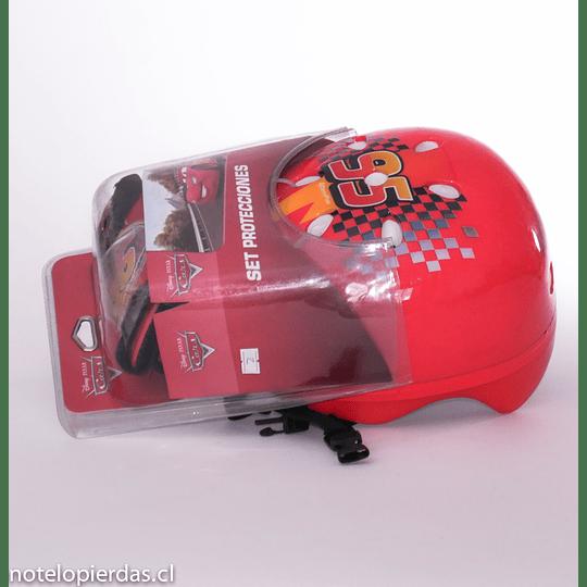 Set de Protecciones + 1 casco  Cars Disney Pixar