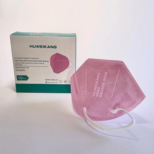 Caja 10 unidades mascarillas KN95-HWK-01 rosada