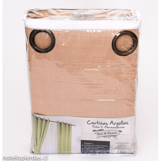 Combo Cortinas Argolla, velos, abrazaderas - 8 Piezas / Maíz