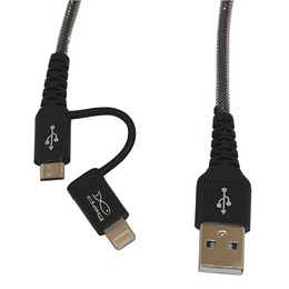 Cable mùltiple micro usb y iphone Dag metàlico 1,5 metros