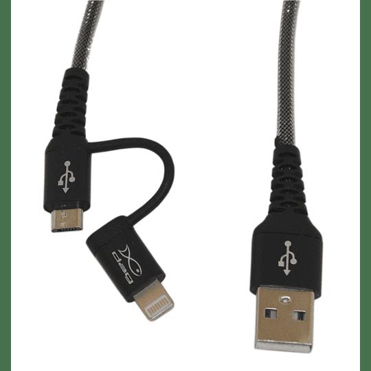 Cable mùltiple micro usb y iphone Dag metàlico 1,5 metros